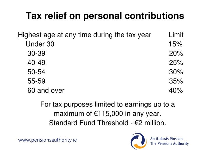 Tax relief on personal contributions