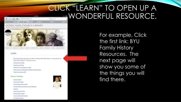 "Click ""learn"" to open up a wonderful resource."