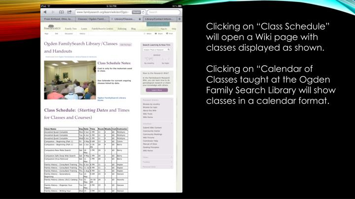 "Clicking on ""Class Schedule"" will open a Wiki page with classes displayed as shown."