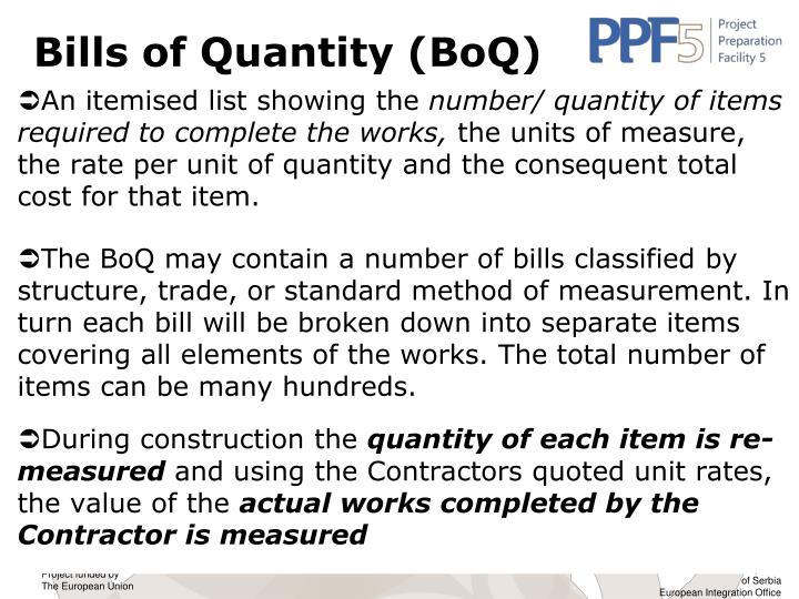 Bills of Quantity (