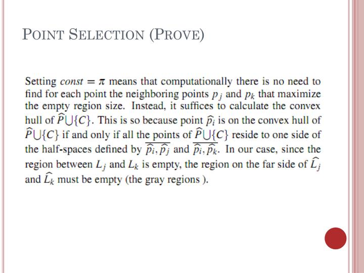 Point Selection (Prove)
