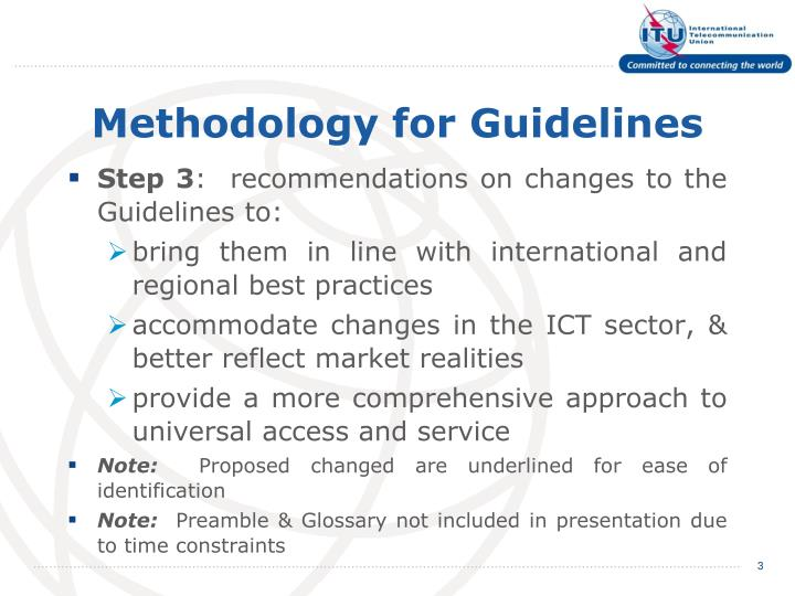 Methodology for guidelines