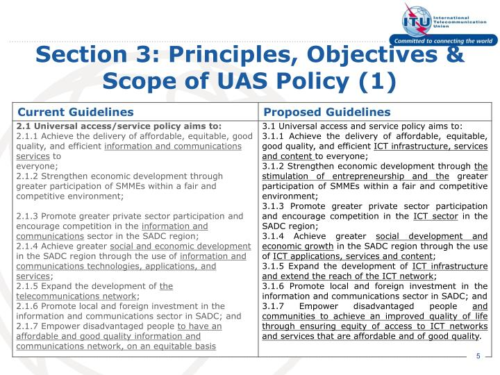 Section 3: Principles, Objectives & Scope of UAS Policy (1)