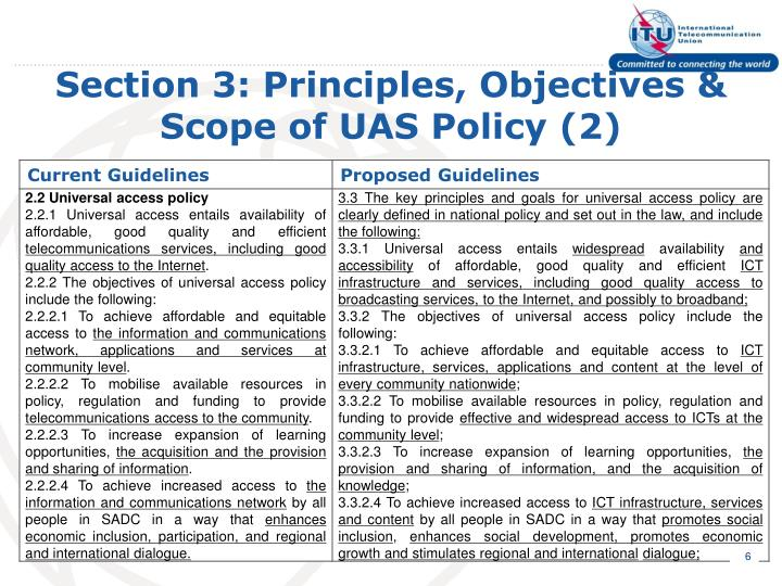 Section 3: Principles, Objectives & Scope of UAS Policy (2)