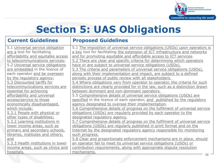 Section 5: UAS Obligations
