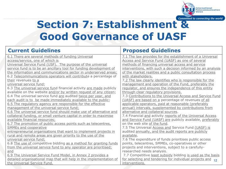 Section 7: Establishment &
