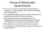 forms of democratic governments