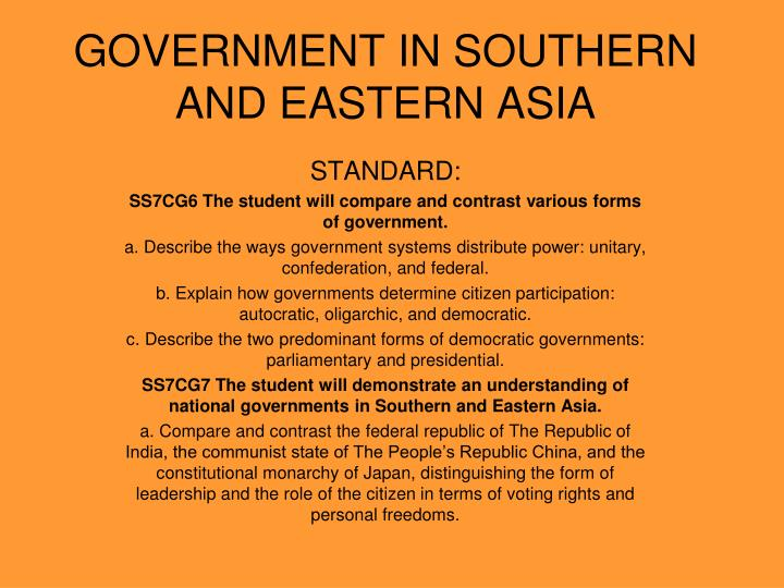 Government in southern and eastern asia