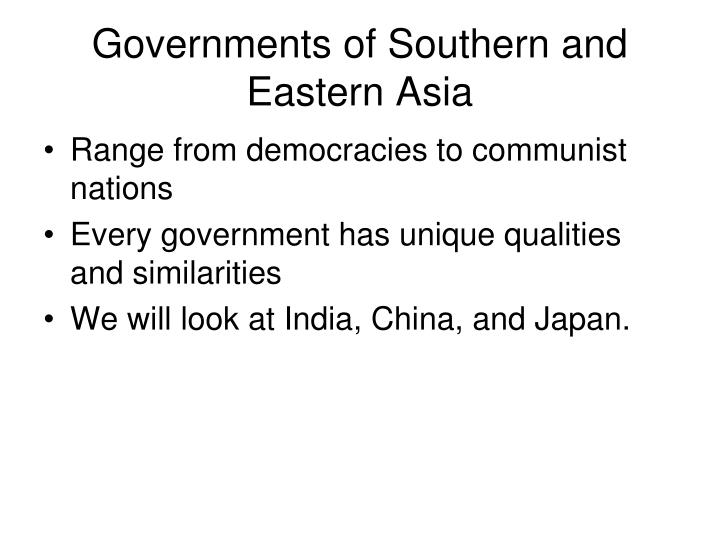 Governments of Southern and Eastern Asia