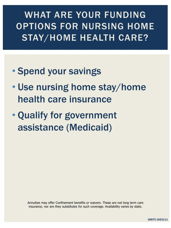 What are Your Funding Options for Nursing Home Stay/Home Health Care?