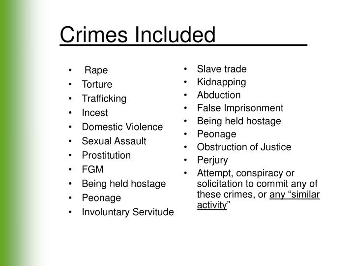Crimes Included