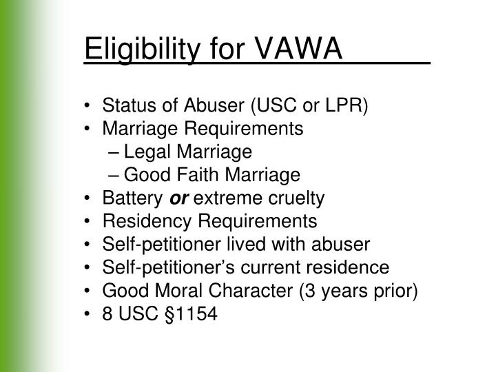 Eligibility for VAWA