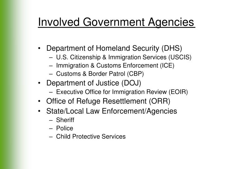 Involved Government Agencies
