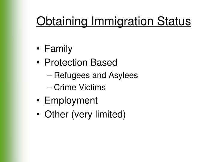 Obtaining Immigration Status