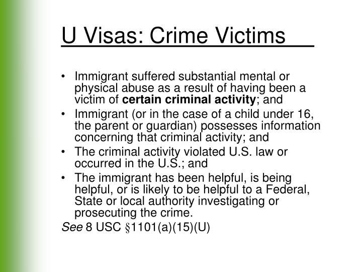 U Visas: Crime Victims