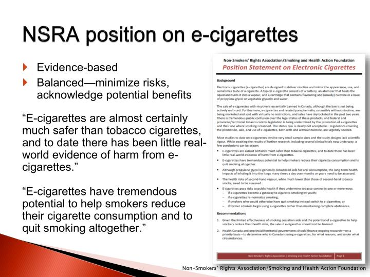 NSRA position on e-cigarettes