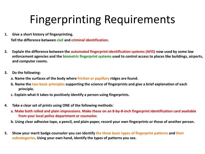 Fingerprinting Requirements