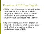 transition of iep if not english
