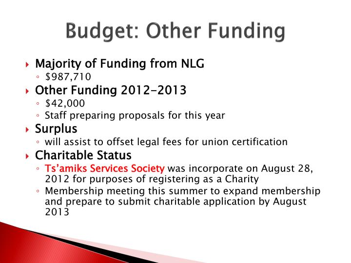 Budget: Other Funding