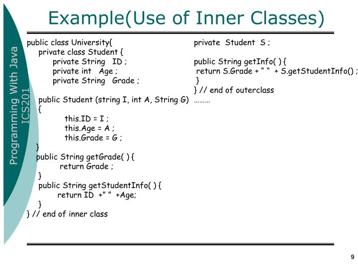 Example(Use of Inner Classes)