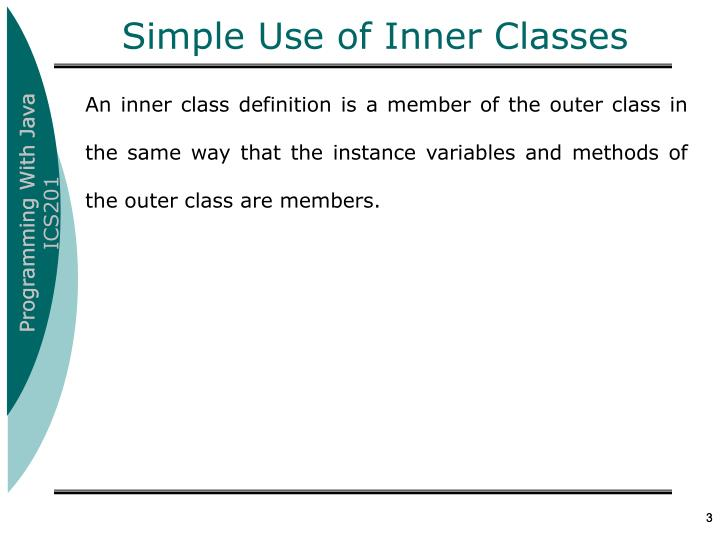 Simple use of inner classes