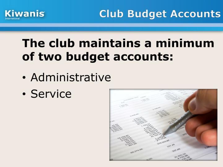 Club Budget Accounts