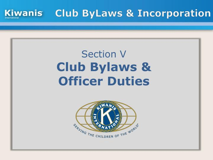 Club ByLaws & Incorporation