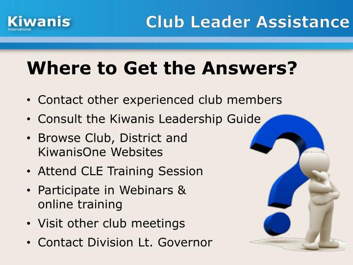 Club Leader Assistance