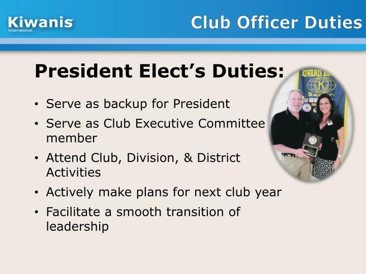 Club Officer Duties