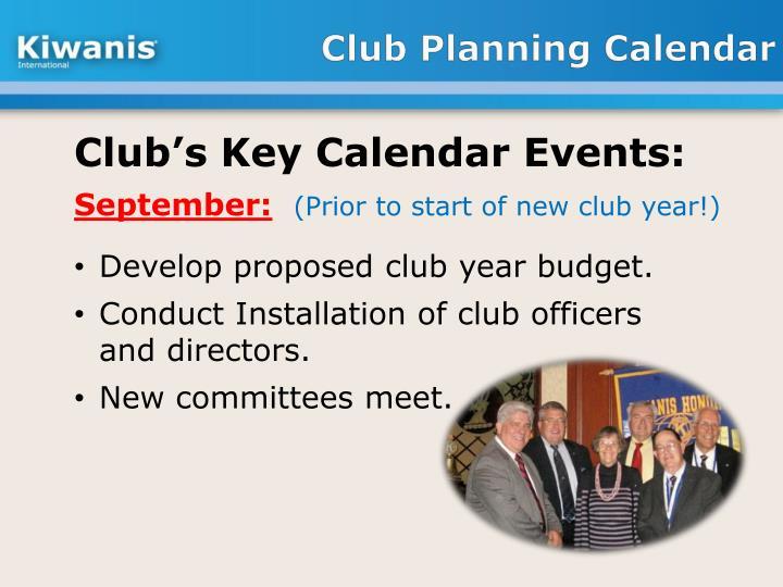 Club Planning Calendar