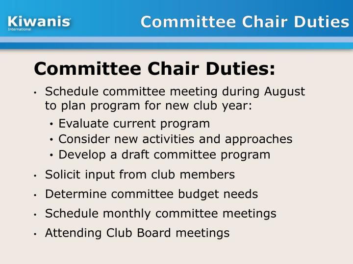 Committee Chair Duties