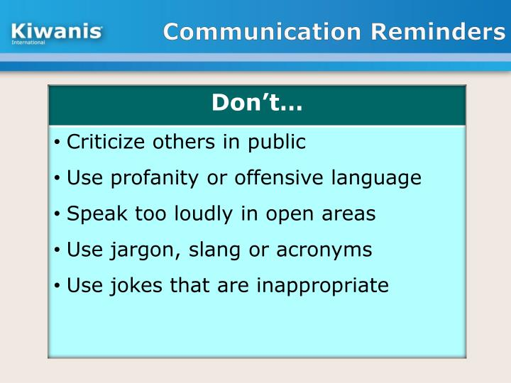 Communication Reminders