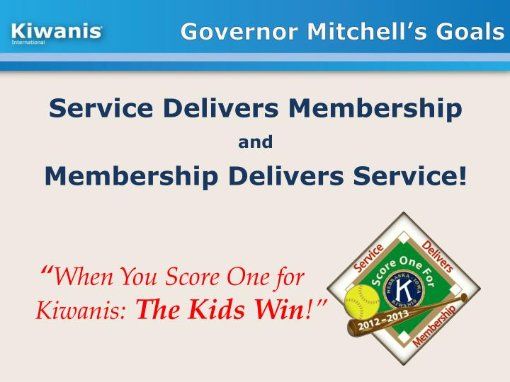 Governor Mitchell's Goals