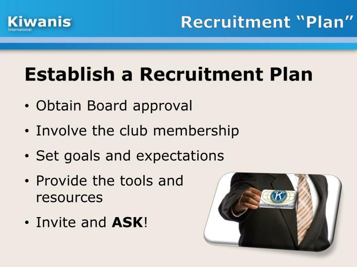 "Recruitment ""Plan"""