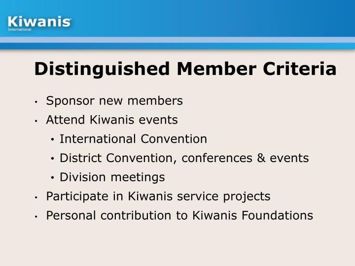 Distinguished Member Criteria