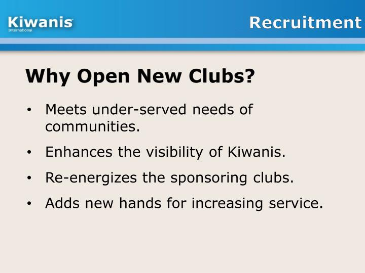 Why Open New Clubs?