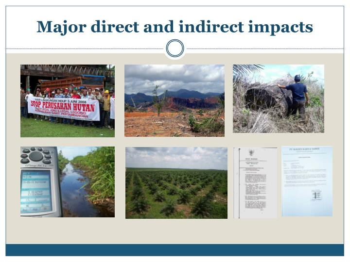 Major direct and indirect impacts