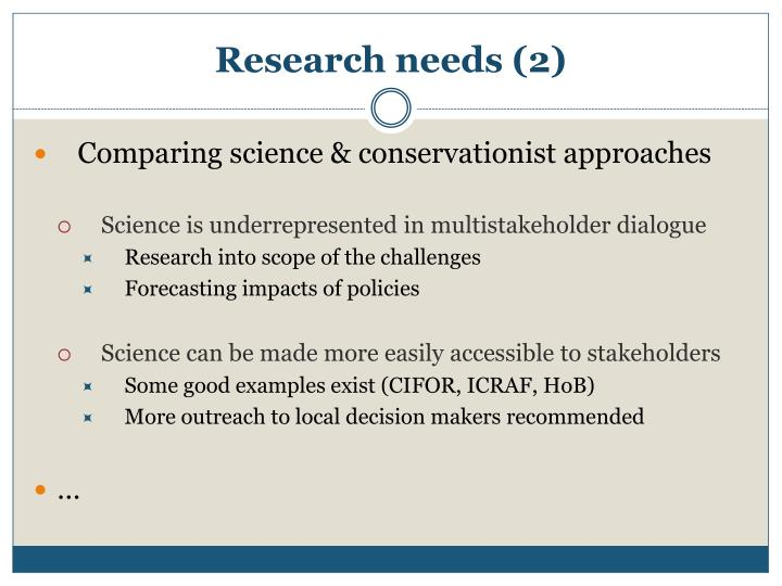 Research needs (2)