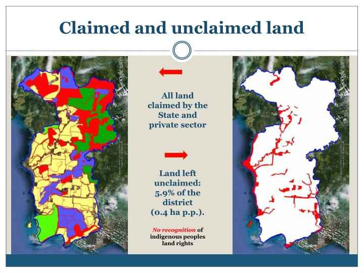 All land claimed by the State and private sector