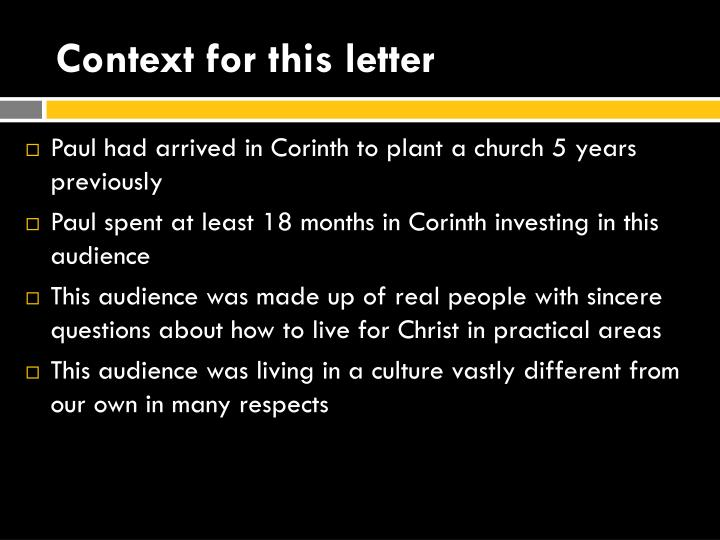 Context for this letter