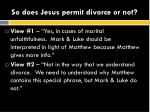 so does jesus permit divorce or not