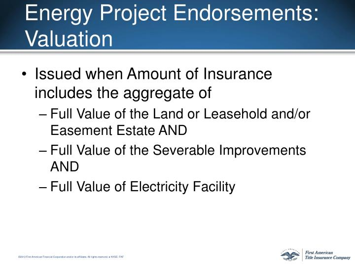 Energy Project Endorsements: Valuation