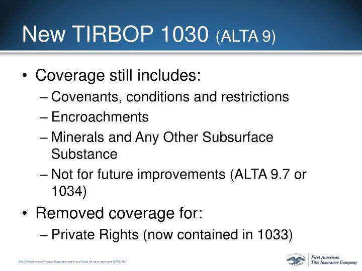 New TIRBOP 1030