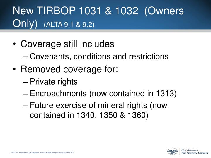 New TIRBOP 1031 & 1032  (Owners Only)