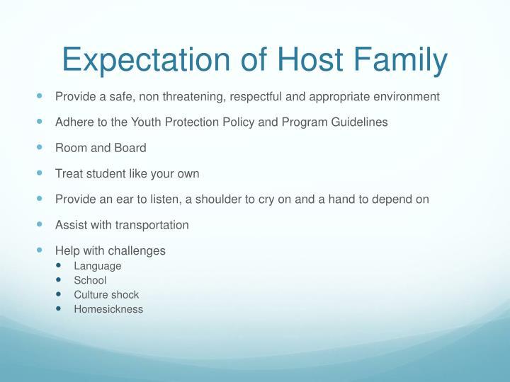 Expectation of Host Family