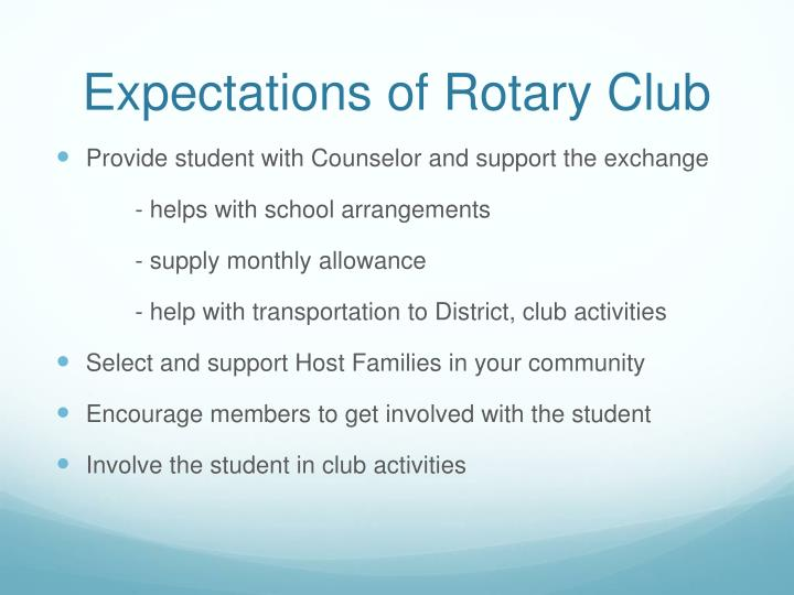 Expectations of Rotary Club