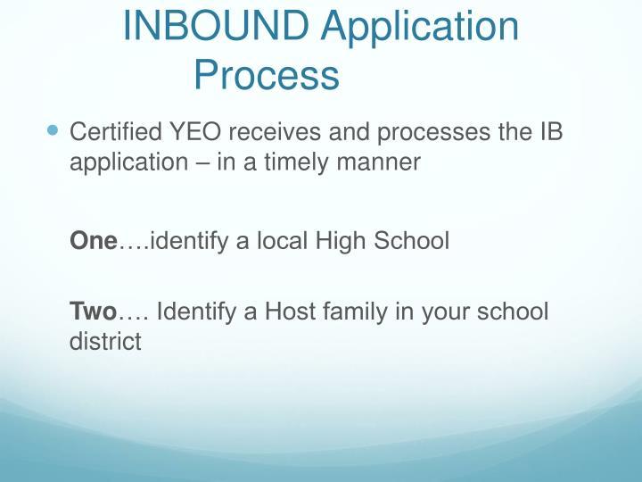 INBOUND Application Process