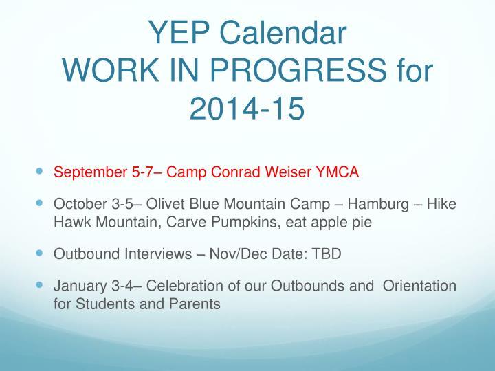 YEP Calendar