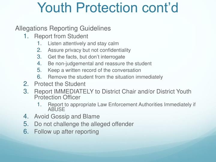 Youth Protection cont'd