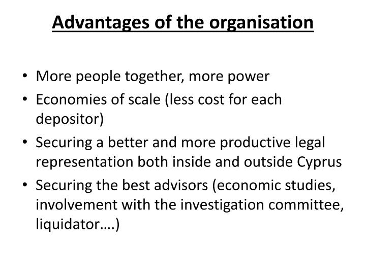 Advantages of the organisation